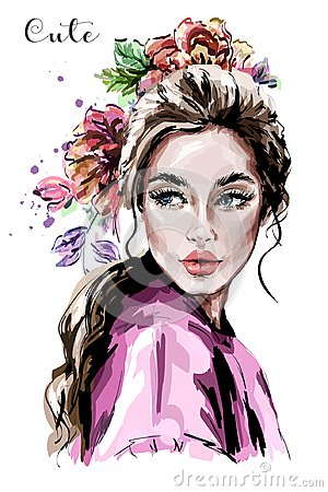 Hand drawn beautiful young woman portrait. Fashion woman. Cute girl with flowers. Vector Illustration