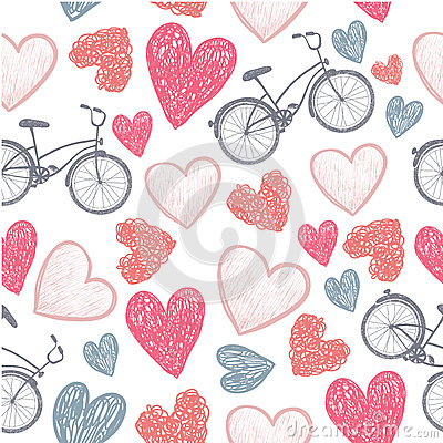 Free Hand Drawn Bicycle And Hearts Wedding, Valentine, Royalty Free Stock Photography - 48907207