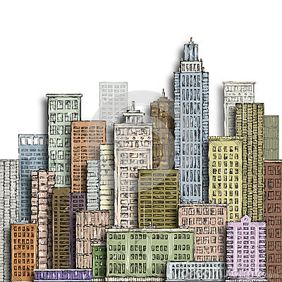 Free Hand Drawn Big City. Vintage Illustration With Architecture, Skyscrapers, Megapolis, Buildings, Downtown. Stock Photos - 85694323