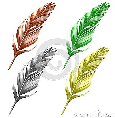 Hand drawn bird feathers