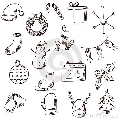 Hand drawn black and white Christmas icons. Vector Illustration