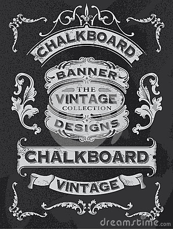 Free Hand Drawn Blackboard Banner And Ribbon Vector Design Stock Photo - 54299650