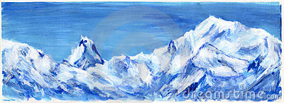Hand drawn blue Alps