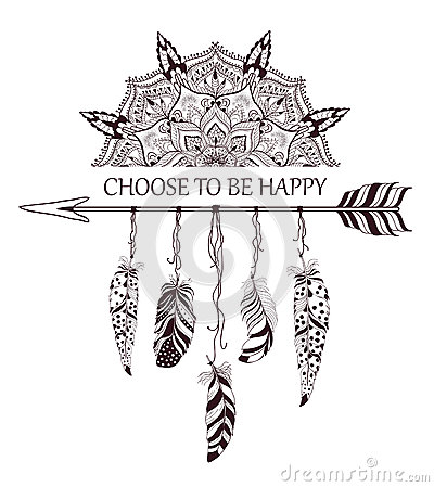Hand drawn boho style design with mandala, arrow and feathers. Vector Illustration