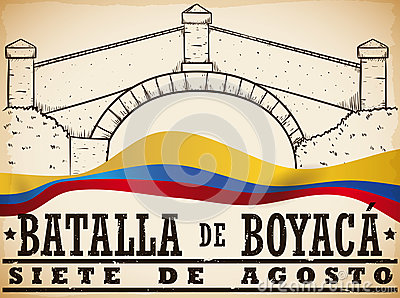 Hand Drawn Boyaca`s Bridge and Colombian Flag for Boyaca`s Battle, Vector Illustration Vector Illustration