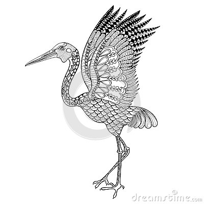 Free Hand Drawn Brolga, Australian Crane Illustration For Antistress Royalty Free Stock Image - 58750516