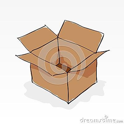 Hand drawn brown paper box