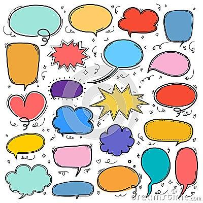 Hand Drawn Bubbles Set. Doodle Style Comic Balloon, Cloud Shaped Design Elements. Vector Illustration