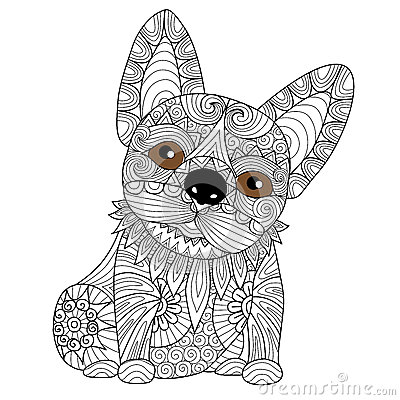 Hand Drawn Bulldog Puppy For Coloring Book Adult Stock Vector