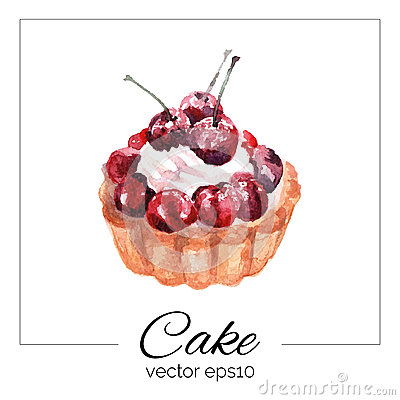 Free Hand Drawn Cake With Watercolor Texture. Royalty Free Stock Images - 54556699