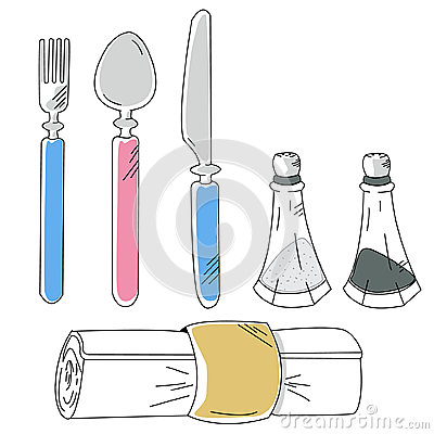 Hand drawn cartoon dishware with spoon Vector Illustration