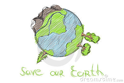 Hand drawn cartoon earth