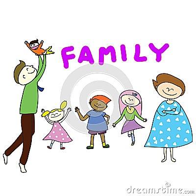 Hand-drawn cartoon happy family