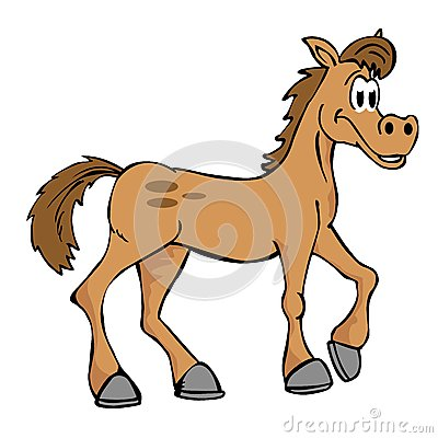 Hand drawn cartoon horse isolated on white