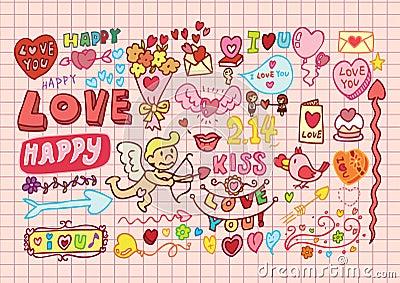 Hand-drawn cartoon romantic se