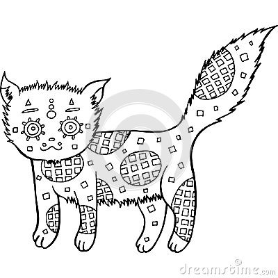 Free Hand Drawn Cat Coloring Page Royalty Free Stock Images - 96367179