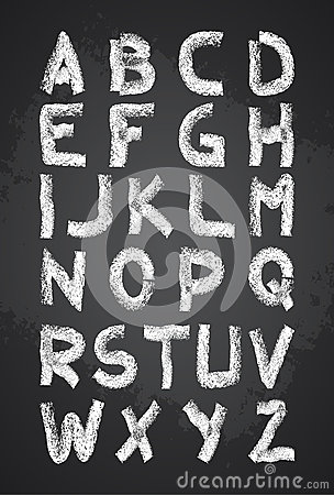 Free Hand Drawn Chalk Alphabet Vector, Capital Letters, Back To School Chalk Font Royalty Free Stock Photography - 46464597