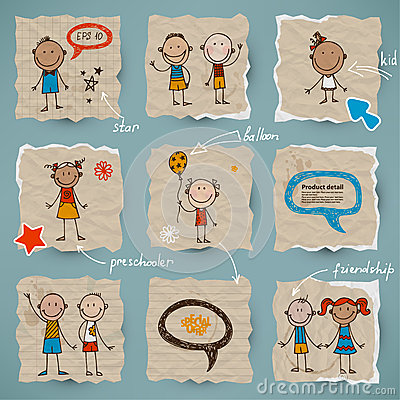 Hand-drawn children and speech bubbles set