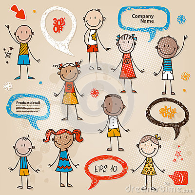 Hand-drawn children speech bubbles set