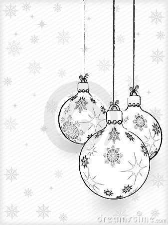 Hand drawn Christmas Decorations On A White Paper With Snowflakes