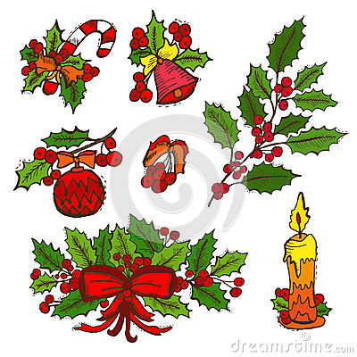 Hand Drawn Christmas Elements Stock Vector - Image: 62741611 - photo #21