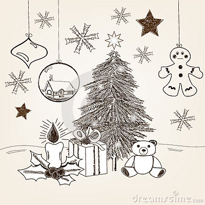 Free Hand Drawn Christmas Scene Royalty Free Stock Photography - 22455467