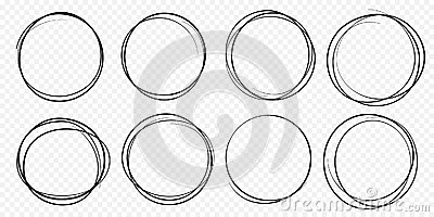 Hand drawn circle line sketch set vector circular scribble doodle round circles Vector Illustration
