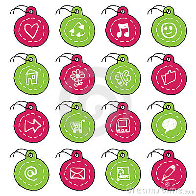 Hand drawn circle tag icons, set 1