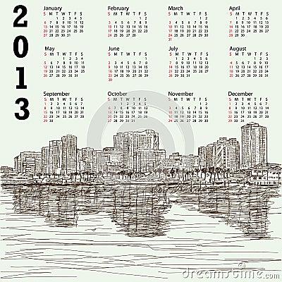 Hand-drawn cityscape 2013 calendar