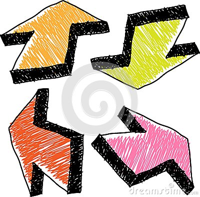 Hand drawn colorful arrows