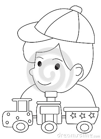 Stock Illustration Hand Drawn Coloring Page Boy His Toy Trains Illustrations Playing Black White Isolated White Background Image46014056 on Audio Production Group