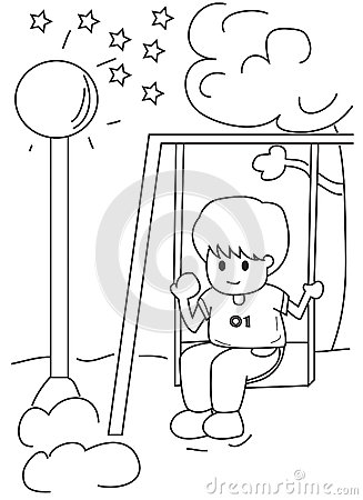 Hand Drawn Coloring Page Of A Boy On A Swing Stock ...