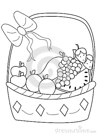 Hand Drawn Coloring Page Of A Fruit Basket Stock Illustration Image