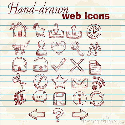 Hand drawn computer web icons