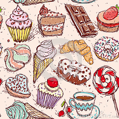 Free Hand Drawn Confectionery Seamless Pattern Croissant Cupcake Candy Marshmallow Ice Cream Cake Donut And Coffee. Royalty Free Stock Photo - 44630795