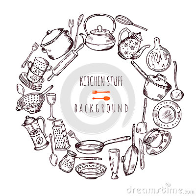 Free Hand Drawn Cooking Icons In Circle Shape. Vector Line Illustration Royalty Free Stock Photos - 92634848