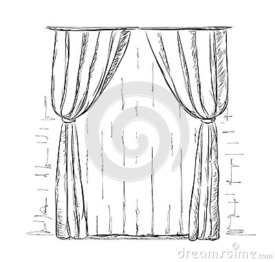 Charming Hand Drawn Curtains Sketch.
