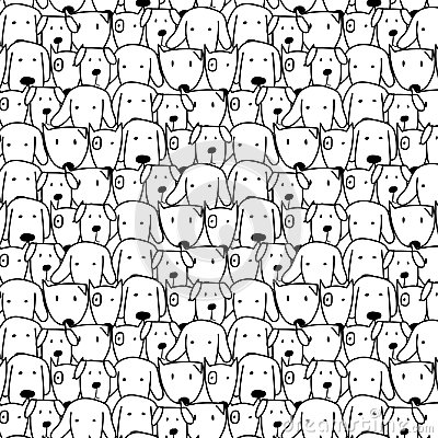 Free Hand Drawn Cute Dog Vector Pattern. Doodle Art. Stock Photo - 99700990
