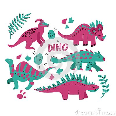 Hand drawn dinosaurs set and tropical leaves. Cute funny cartoon dino collection. Hand drawn vector set for kids design. Vector Cartoon Illustration