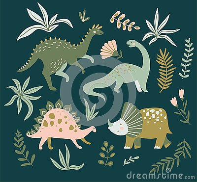 Free Hand Drawn Dinosaurs, Tropical Leaves And Flowers. Cute Dino Design. Vector Illustration. Royalty Free Stock Photography - 129174177
