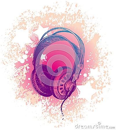 Hand drawn dj s headphones