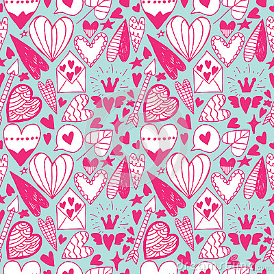 Hand Drawn Doodle Heart Seamless Pattern Stock Vector - Image ...