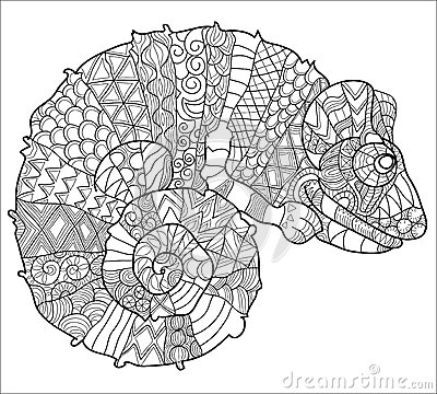 Free Hand Drawn Doodle Outline Chameleon. Royalty Free Stock Photography - 59770047