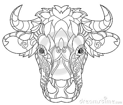 Hand Drawn Doodle Outline Cow Head Stock Vector Image