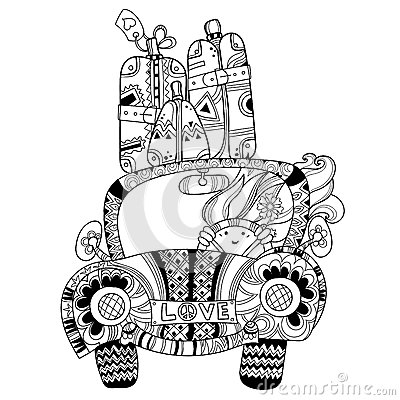 Hand Drawn Doodle Outline Holiday Car Travel Stock Vector