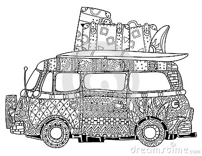 Hand Drawn Doodle Outline Surf Bus Volkswagen Stock Vector