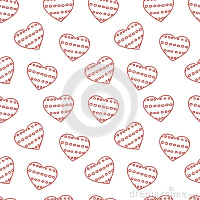 Hand drawn doodle seamless pattern of hearts