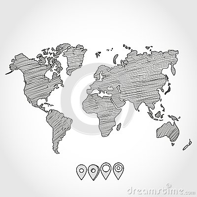 Free Hand Drawn Doodle Sketch Political World Map And Royalty Free Stock Photo - 51108115
