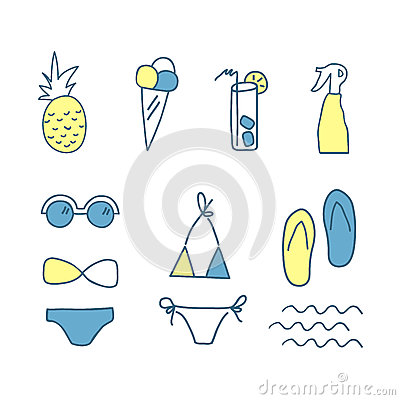 Free Hand Drawn Doodle Summer Icons. Line Color Set Of Elements. Vector Illustration. , On White Background Stock Image - 80067051