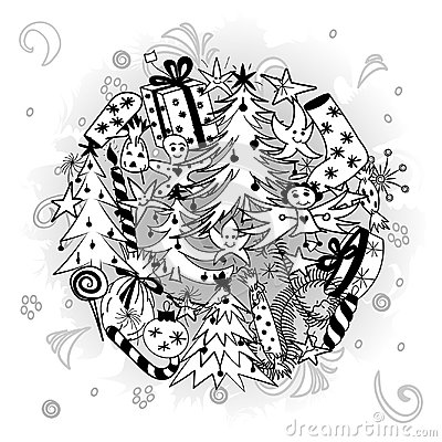 Free Hand Drawn Doodle Winter Holiday Symbols. Children Drawings Of  Fir Trees, Gifts, Candle, Sweets, Angel And Snowflake Stock Photography - 101635972